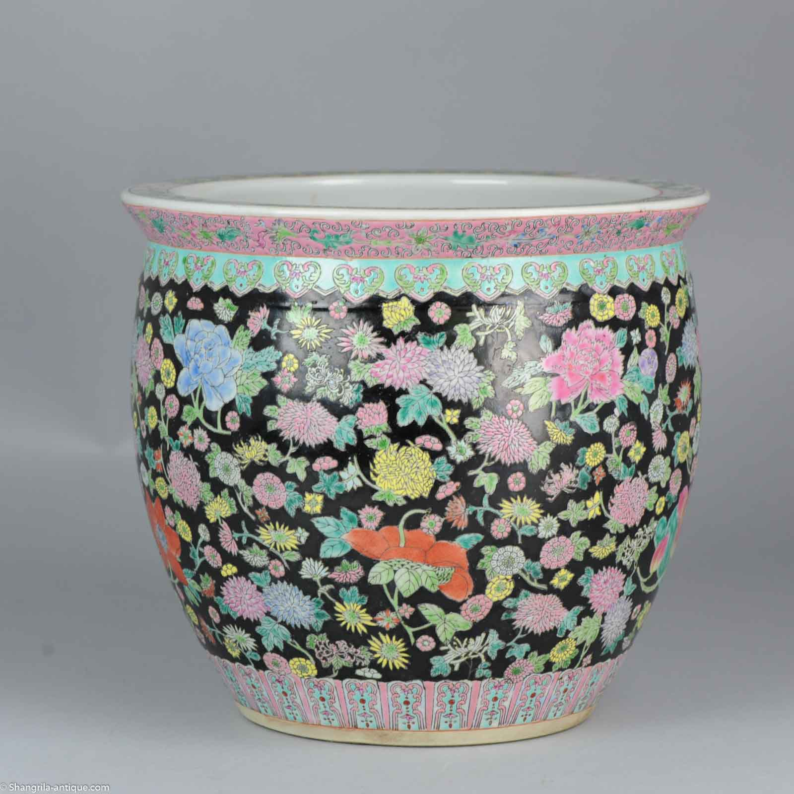 Great 20th C Chinese Porcelain Fishbowl Planter For Flower
