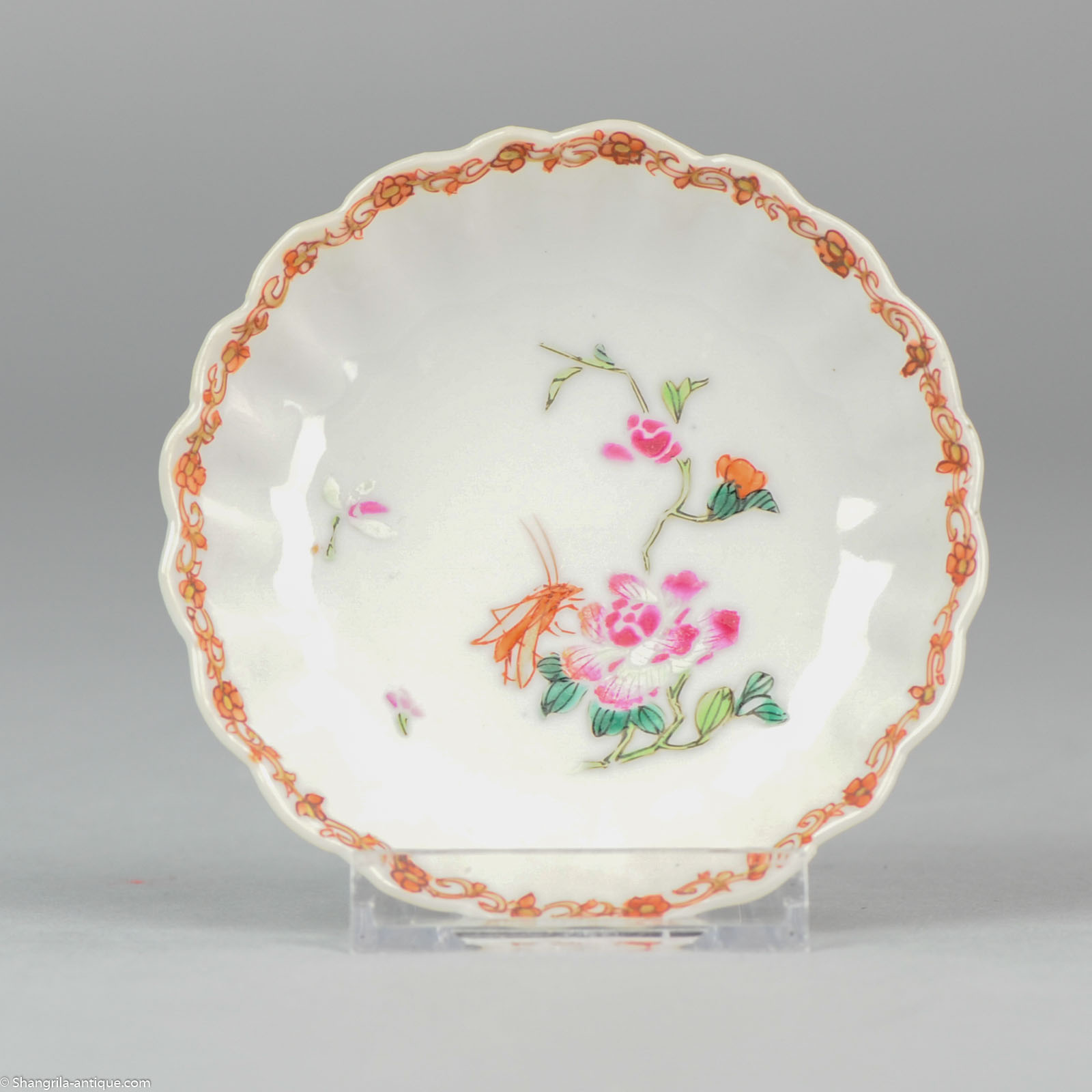18C Chinese porcelain famille rose dish Lobbed Grasshopper & 18C Chinese porcelain famille rose dish Lobbed Grasshopper China ...