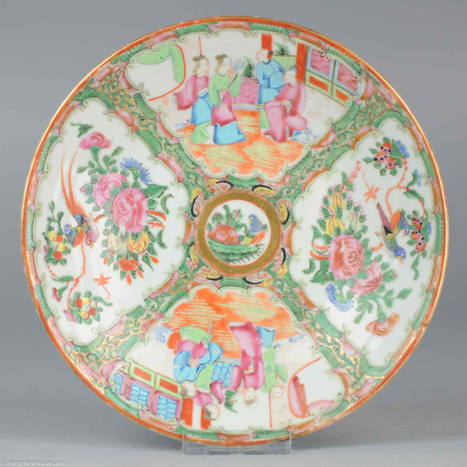 main product image  sc 1 st  eBay & Perfect Antique 19C Chinese Porcelain Cantonese Plate Figures Birds ...