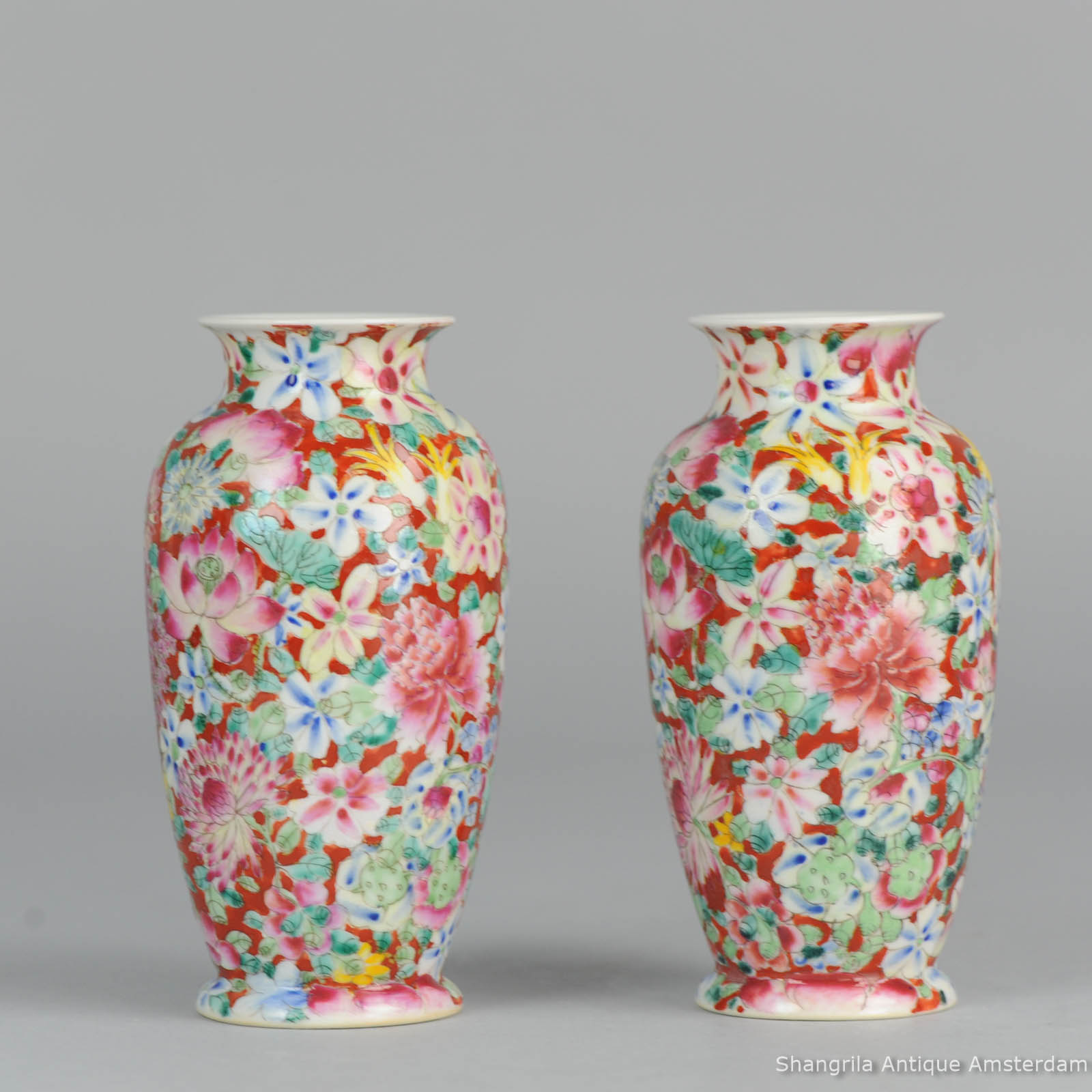 Antique pair of late qing or republic millefleur vases rare red type guangxu marked chinese porcelain vase 2g set 1920c chinese porcelain vases millefleur guangxu marked reviewsmspy