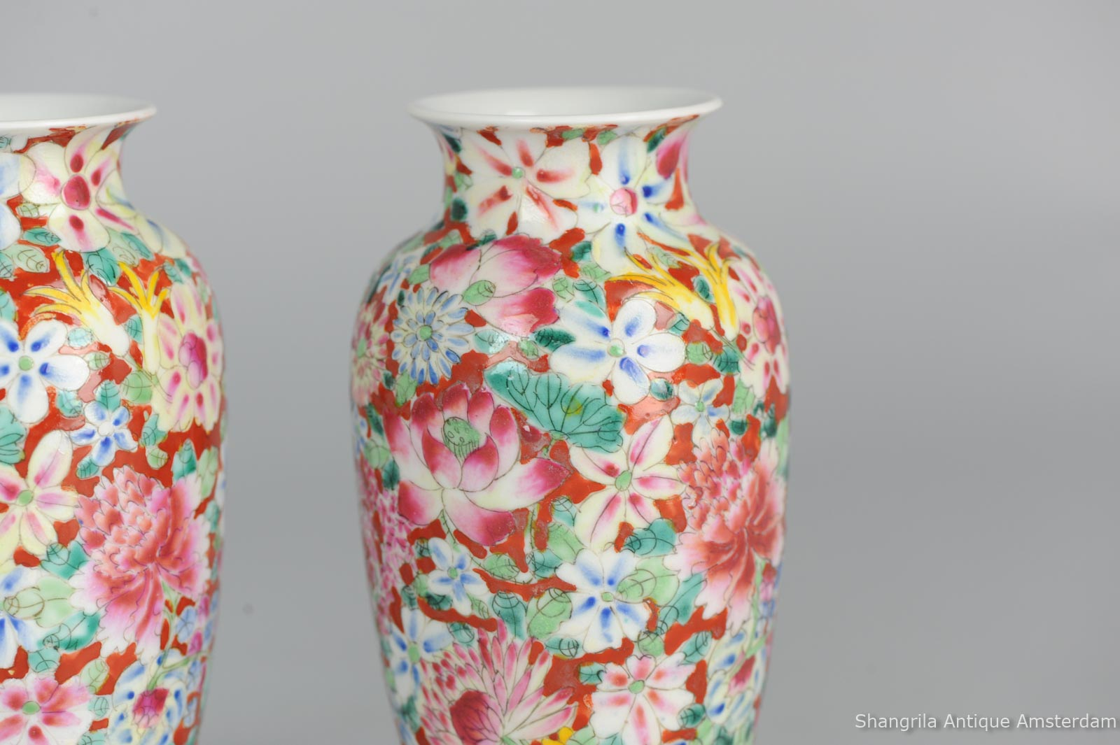 Antique pair of late qing or republic millefleur vases rare red type guangxu marked chinese porcelain vase 28g set 1920c chinese porcelain vases millefleur guangxu marked reviewsmspy
