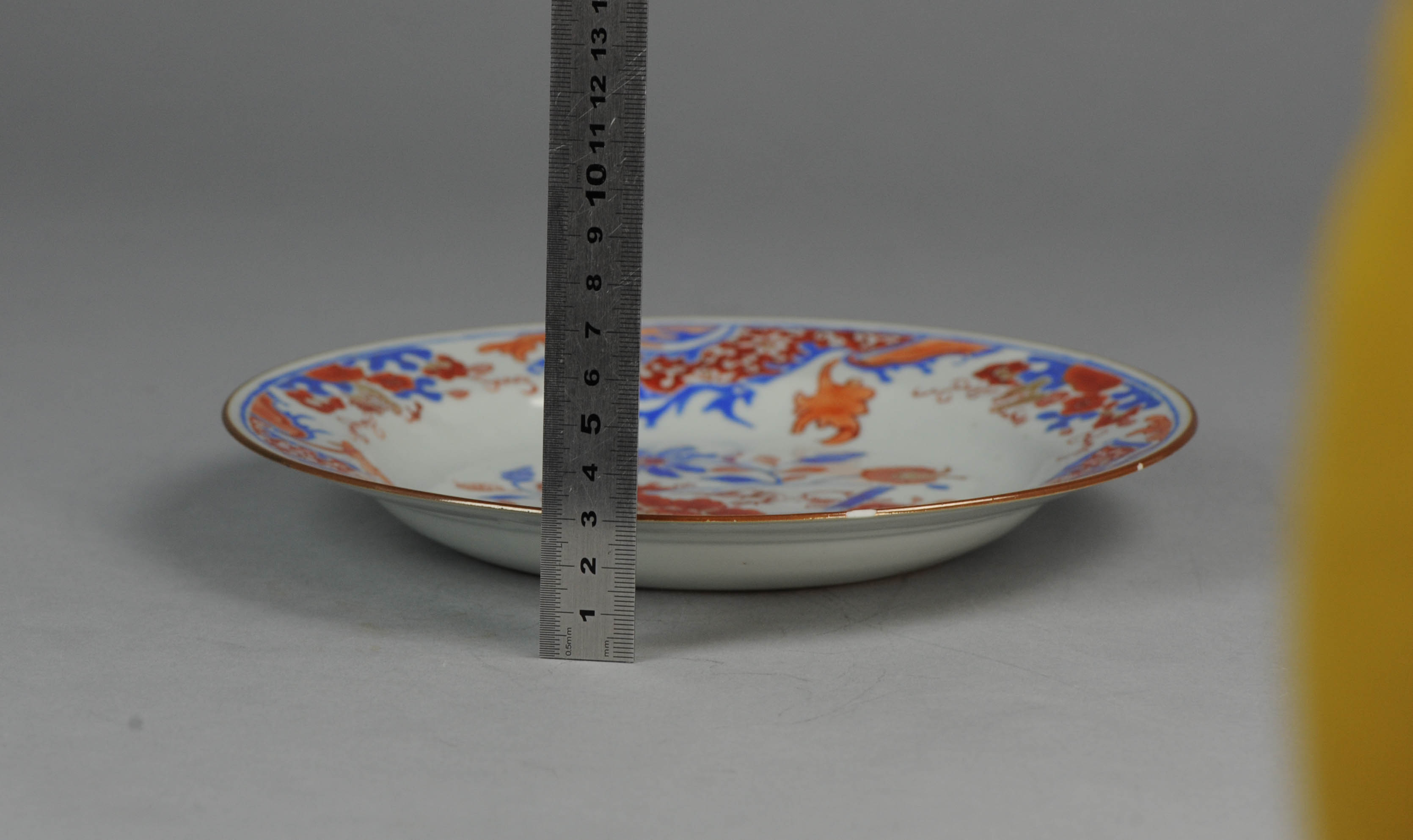 Antique 18th Chinese Porcelain Dinner Plate Scroll Red & Antique Scroll Dinnerware - Castrophotos
