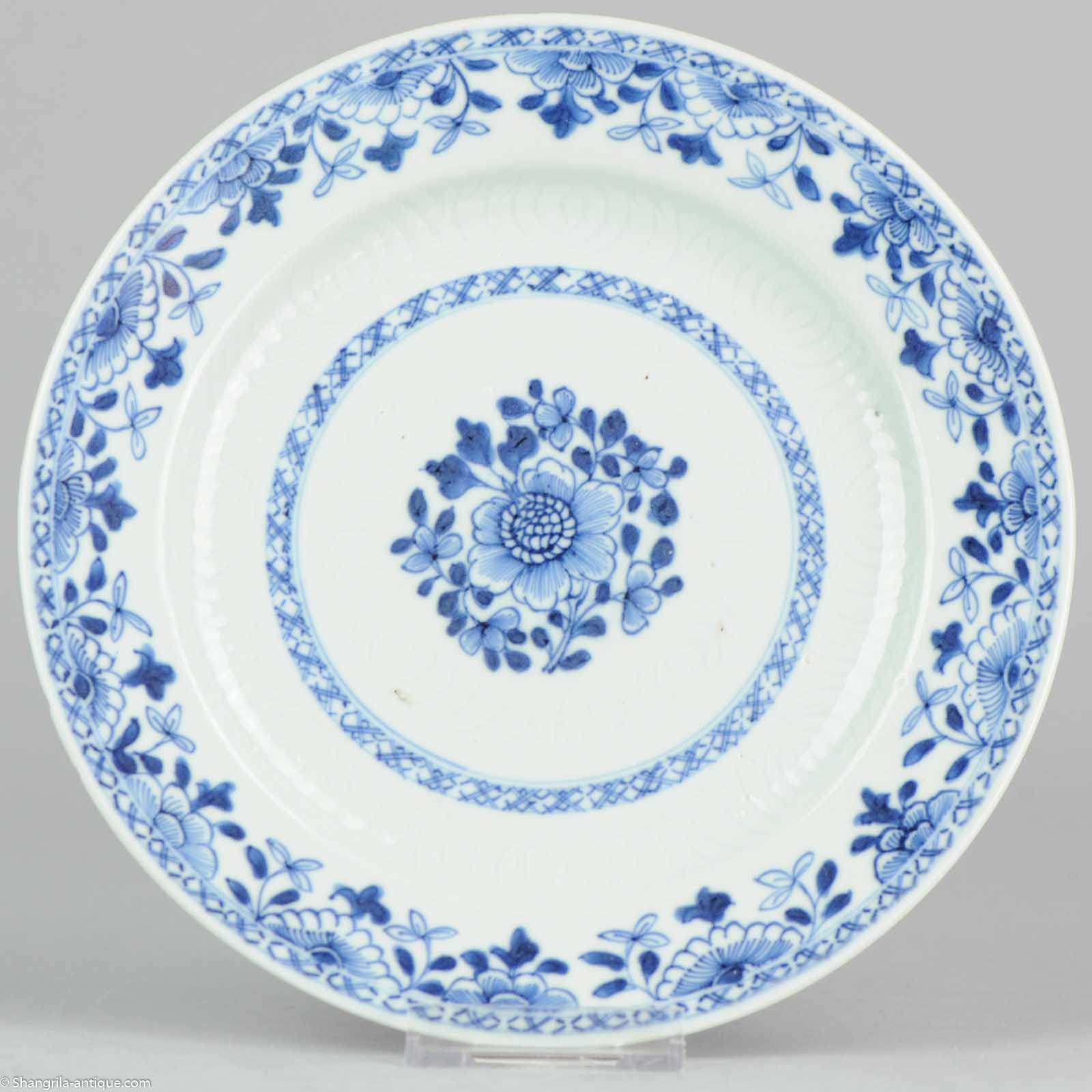 Chinese Porcelain Plates : Cm c chinese porcelain blue and white plate carved