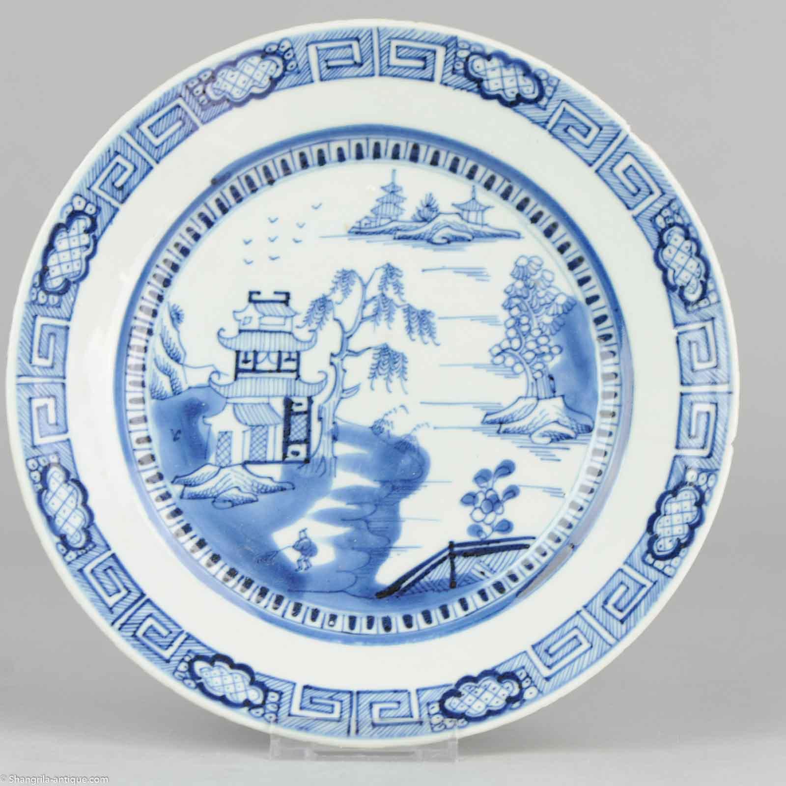 23.7cm Antique 19C Chinese Porcelain Plate Blue White Landscape  sc 1 st  Shangrila Antique & Shangrila Antique