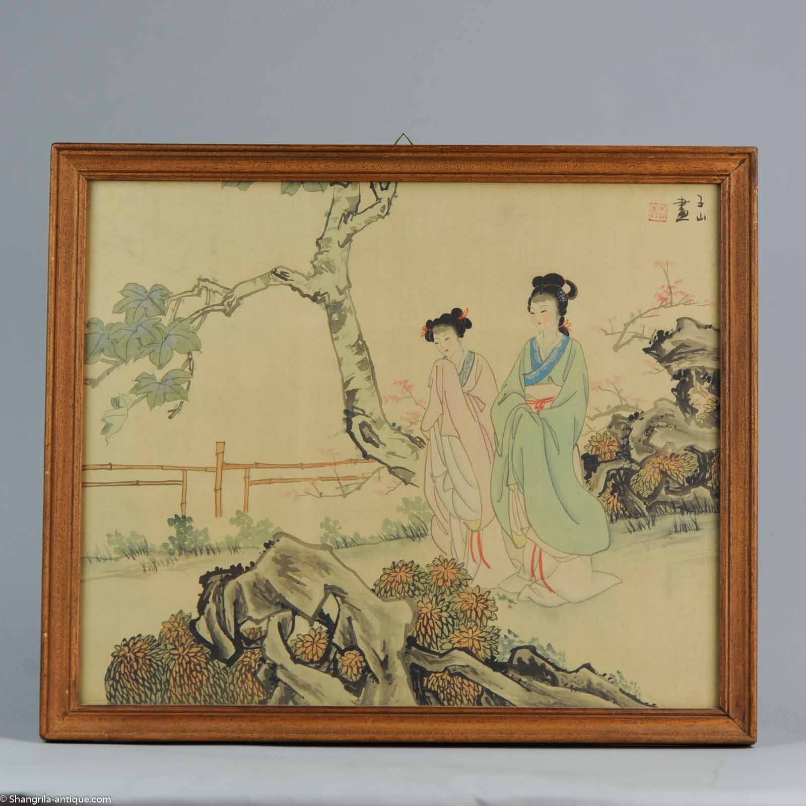 Very fine Chinese painting Ladies and Calligraphy China Antique | eBay