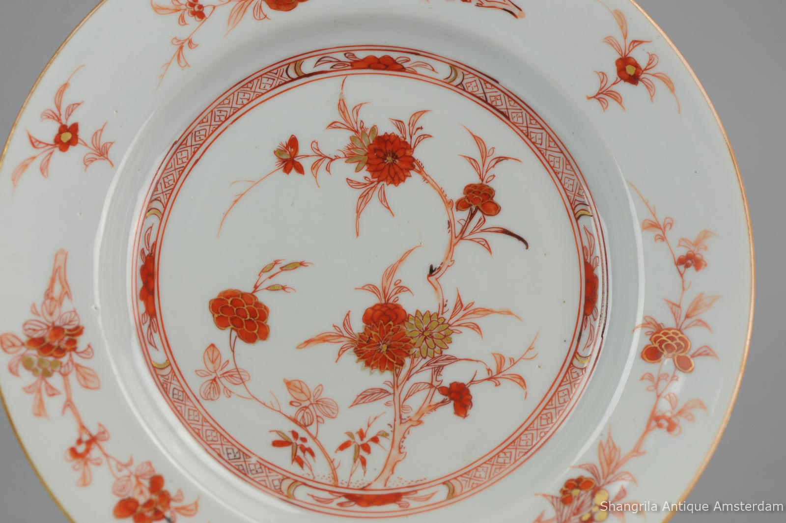 Antique 18th c Chinese Porcelain Rouge de Fer Plate Qing Kangxi /Yongzheng Blood Milk & Shangrila Antique