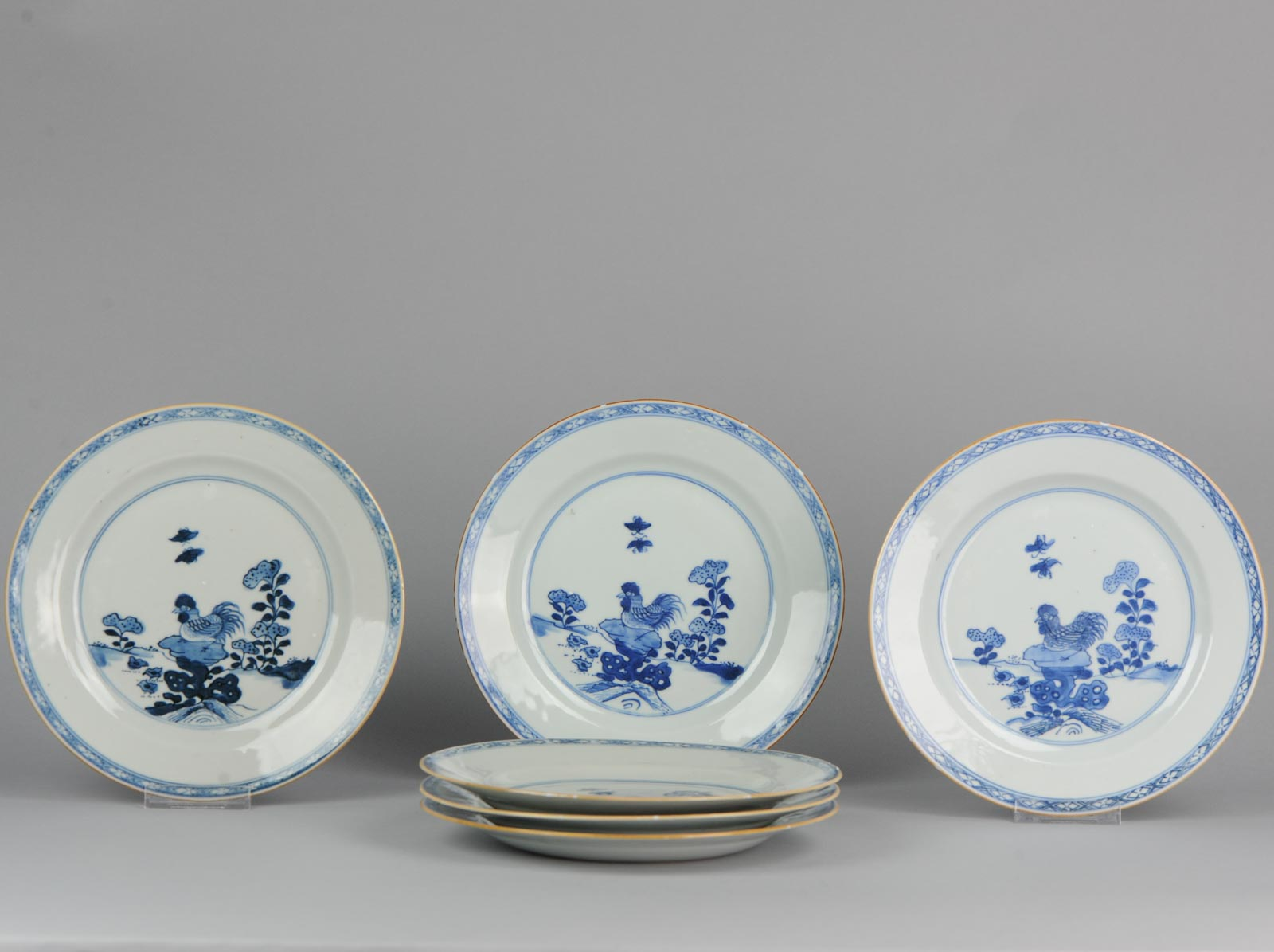 Details About Dinner Set Of 6 Antique Chinese Porcelain Plates Rooster Rock In Garden Qianlong