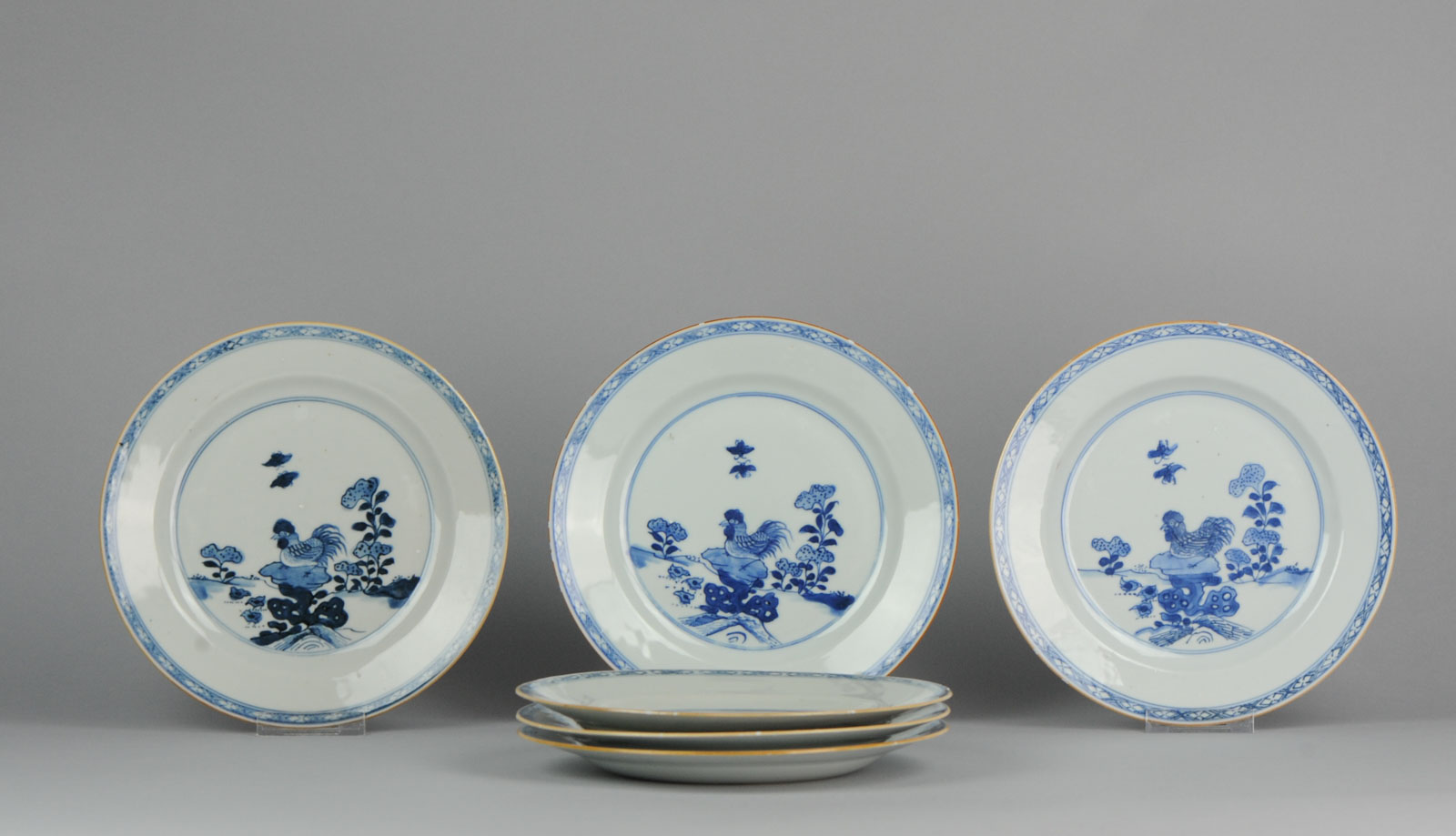 Chinese Porcelain Plates Rooster Rock