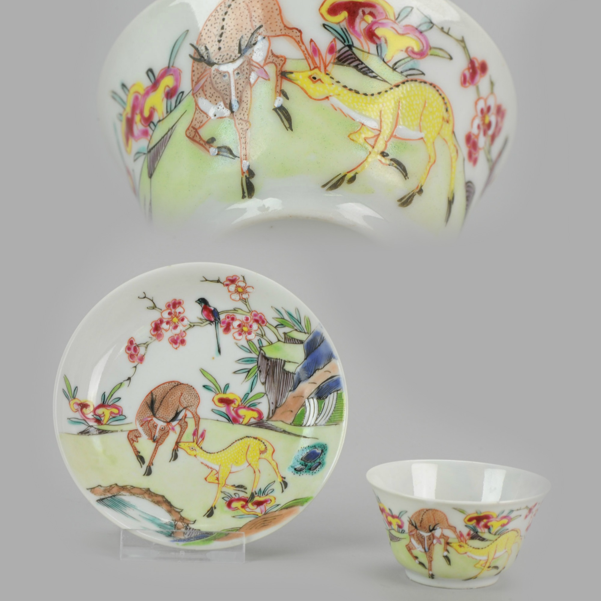 Details about Rare Antique Yongzheng Period Chinese Porcelain Cup Saucer  Deer Funghi[: